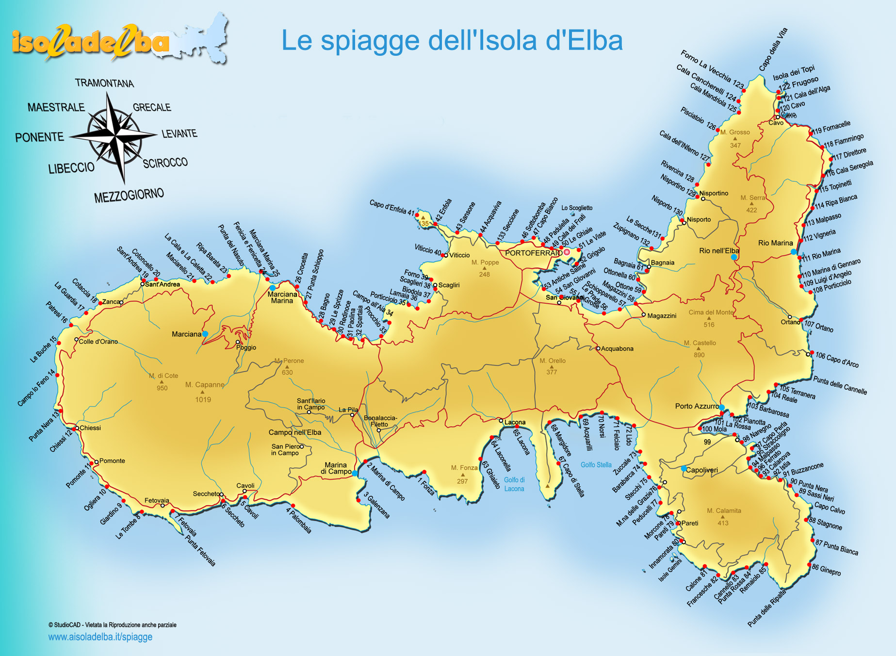 Cartina Elba Isola.Cartina E Mappa Dell Isola D Elba